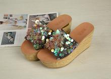 Kaeve Hot Summer Bling Womens Sandals Slippers Casual Wedges Pumps Sandy Beach Shoes High Heels Free Shipping