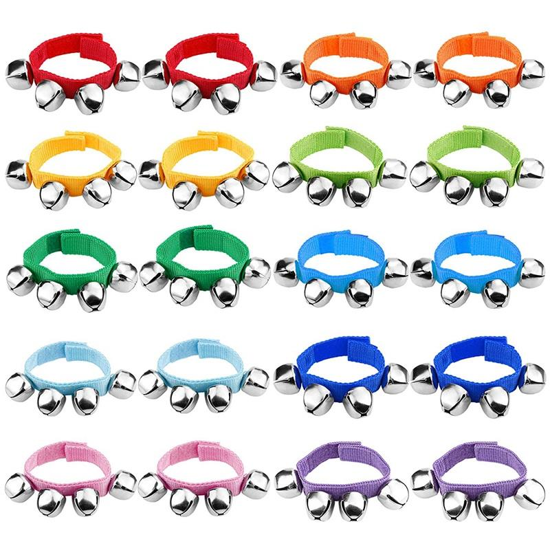 20 Wrists With Jingle Bells Music Rhythm Toys Random Colors School Instruments Baby Toys 0-12 Months Baby Toy Rattle Ball Hand