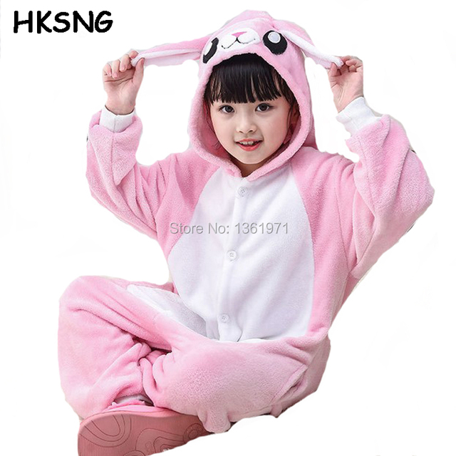 HKSNG Kids Winter Cartoon High Quality Flannel Cute Pink Bunny Rabbit  Pajamas Kigurumi Onesie Cosplay Costume Animal Homewear e1ed98ef9c817