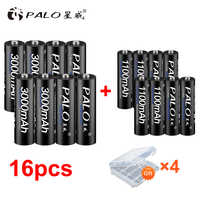 8Pcs PALO 1.2V 3000mAh AA Rechargeable Battery and 8Pcs 1100mAh AAA Rechargeable Batteries For Toys Car