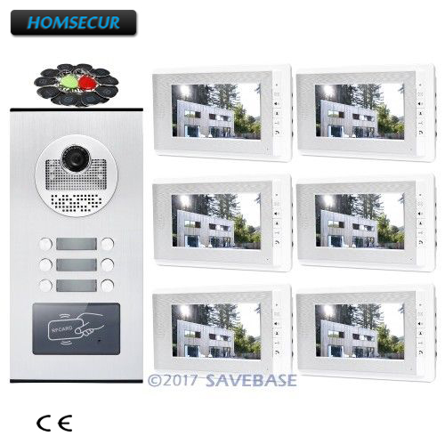 """HOMSECUR 7"""" Wired Video Door Entry Call Intercom With RFID Outdoor Unit For 6 Apartment"""