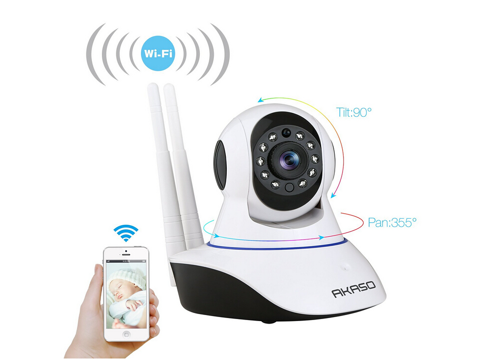 AKASO  Onvif 720P IP Camera Wireless Wifi CCTV Camera HD Indoor Pan Tilt IR CUT Security Network CAM Support 64G SD Card