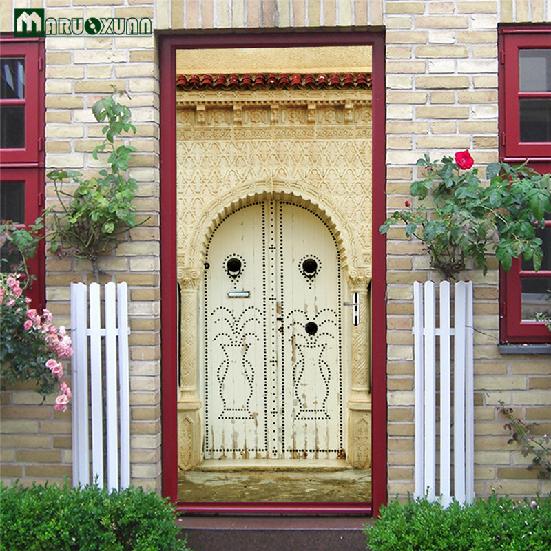 Maruoxuan 3D Door Sticker Muslim Arab Culture Home Sticker Bedroom Living Room Corridor Door Decorative PVC Wall Stickers