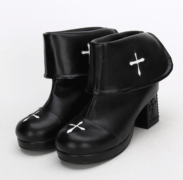 Punk Femme Lady Plate Bottes Pompes Chaussures forme Cheville Femmes Mori Main Fille Noir Angélique Courtes Lolita 47 Hauts Talons Empreinte À 33 aPwzxX0g