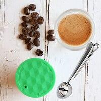 إعادة الملء الفولاذ المقاوم للصدأ المعادن قابلة لإعادة الاستخدام دولتشي غوستو كبسولة غطاء سيليكون Dolci غوستو ماكينة القهوة ملعقة قهوة مع كليب|مرشحات القهوة|   -