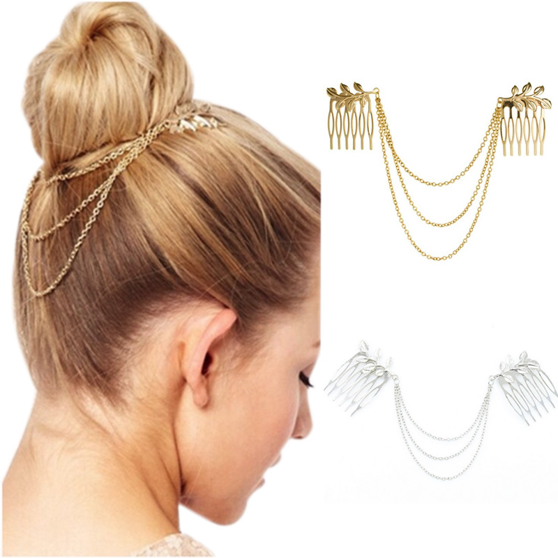 Alloy Tassel Leaf Comb Cuff Chain Women Headband Hair Band Jewelry Girl Fashion Gifts M8694