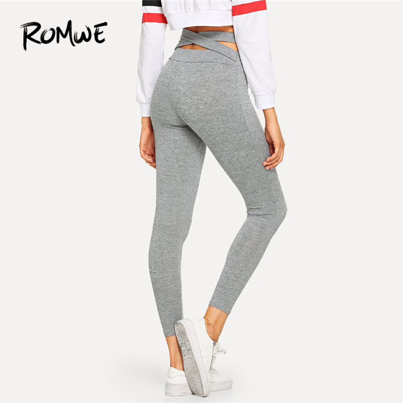 ROMWE Grey Plain Criss Cross   Leggings   Women Casual Trending Products Autumn Fashion Sporty Clothes Ladies   Leggings   Pants