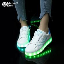 Size35 42 ססגוני Usb טעינה מואר נעלי סניקרס הזוהר LED כפכפים אור עד ילדה Led נעלי תינוקות זוהר סניקרס