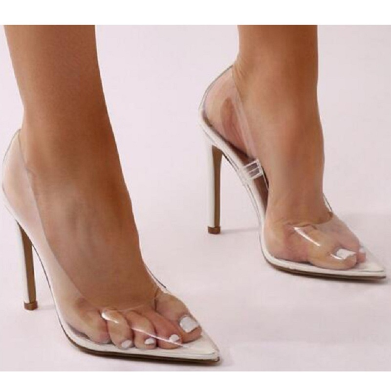 Gtime Clear PVC Transparent Pumps Sandals Perspex Heel Stilettos High Heels Point Toes Womens Party Shoes Nightclub Pump XJJ330