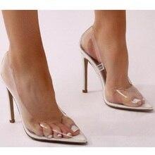 Gtime Clear PVC Transparent Pumps Sandals Perspex Heel Stilettos High H