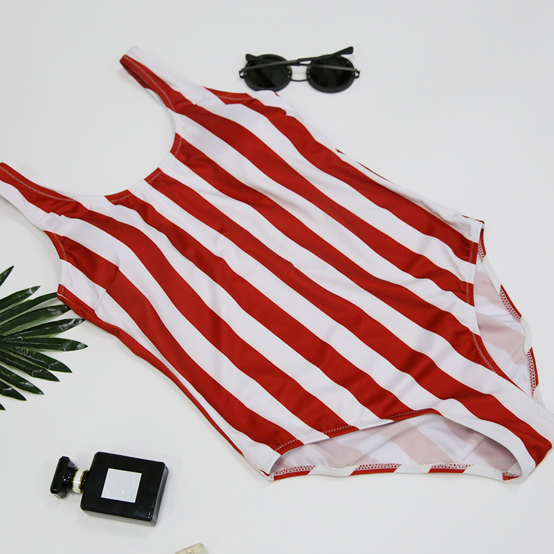 5fab2f803a10c 2019 Striped Swimwear One Piece Swimsuit Women Backless Monokini Swimsuit  Sport Bodysuit Beach Bathing Suit Swim Red White-in Body Suits from Sports  ...
