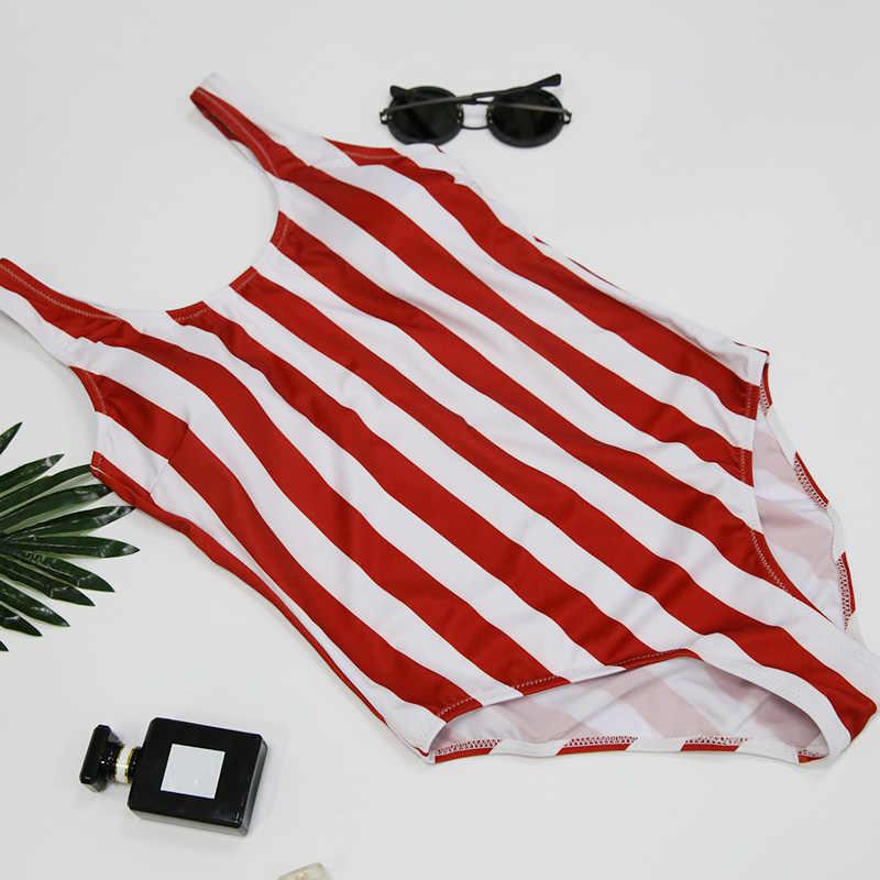 2019 полосатая одежда для плавания цельный купальник женский монокини с открытой спиной Купальник Спортивный боди пляжный купальный костюм Купальник красный белый
