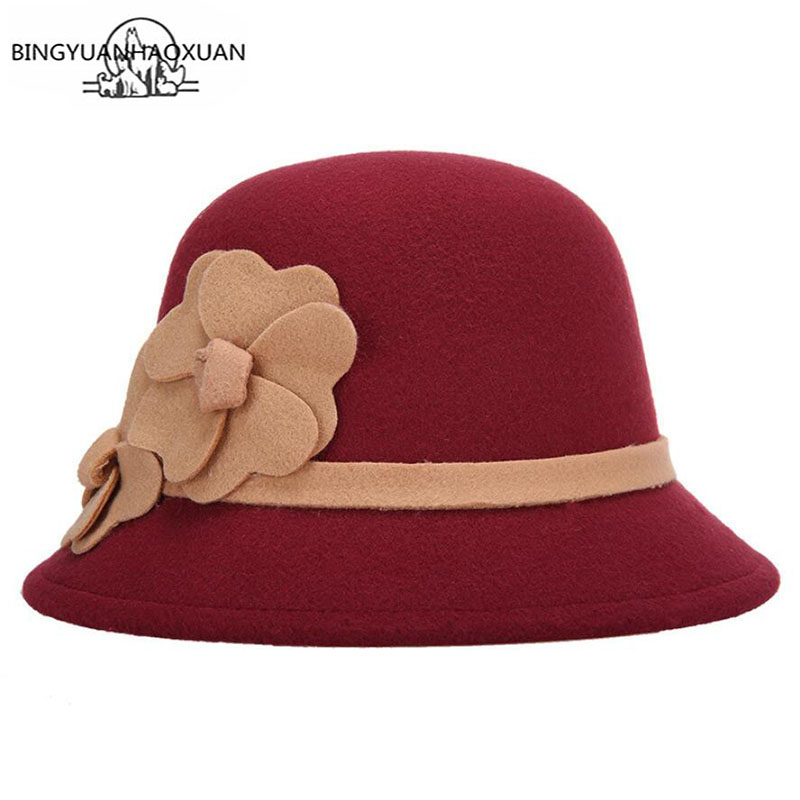 BINGYUANHAOXUAN Womens Winter Bucket Hat with Bowknot Vintage Style Woolen Warm Graceful Floppy New Fashion