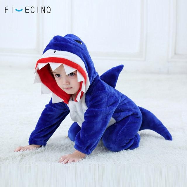 Tubarão azul Kigurumi Onesie Bebê Crianças Criança Fantasia Animal Dos Desenhos Animados Engraçado Traje do Carnaval Festival Cosplay Terno Presente de Aniversário