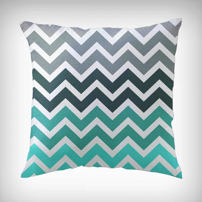 Chevron zigzag fade pattern throw pillow case decorative - Sofa azul turquesa ...