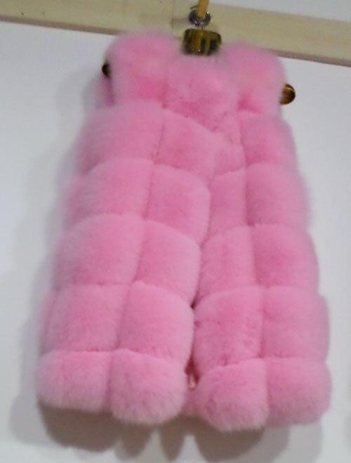 Linhaoshengyue 73 см длинные Высокое качество меха лисы Жилет натуральным лисьим мехом женские жилет - Цвет: pink