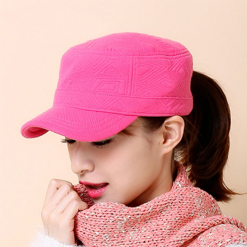 [ AETRENDS] 2017 New Winter Flat Hats for Women Cotton Military Cap Z-3894