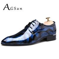 AGSan Men Dress Shoes Pointed Toe Oxfords Fashion Floral Dress Shoes Big Size 37 50 Men