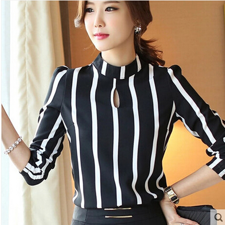 e595617bac3514 Plus Size S-2XL 3XL Classic Striped Blouse Womens Elegant Slim Chiffon Shirt  Designer Tops Ladies Blusas Femininas Large Size