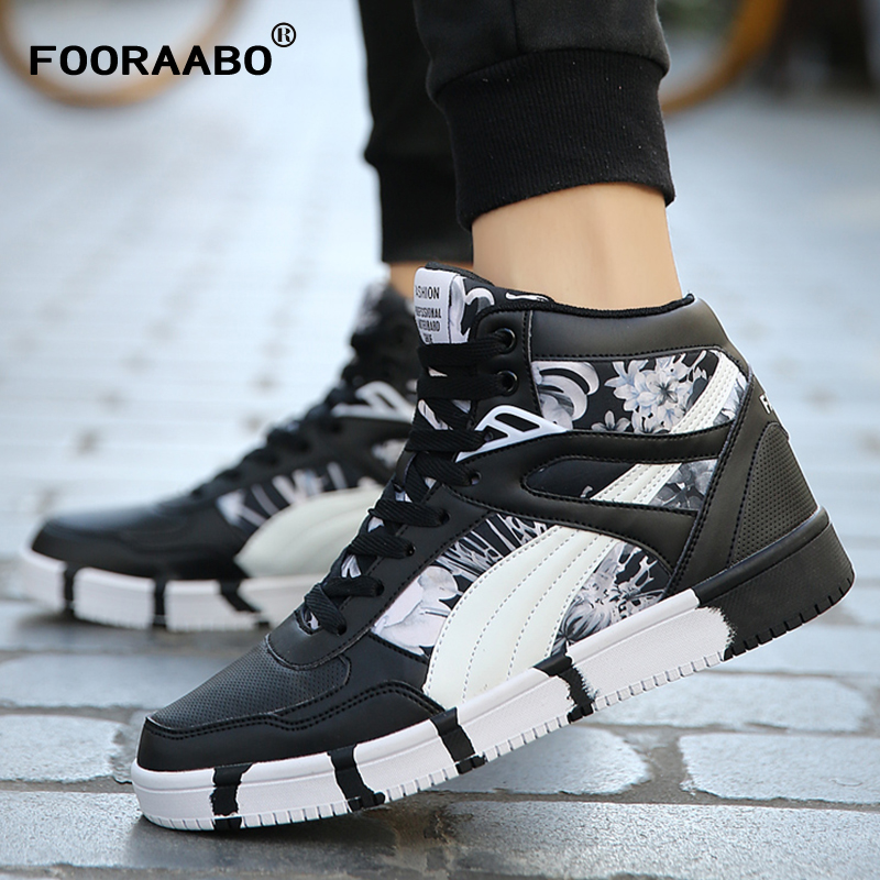 Fooraabo 2017 New Printing Mens Sneakers Casual Flats Shoes Autumn Luxury Unisex Hip Hop Male High Top PU Leather Shoes Sneakers gran epos 2017 new mens casual shoes man flats breathable fashion low high top shoes men hip hop dance shoes for male zapato