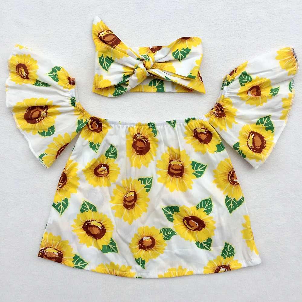 太陽の花フラッタートップス、花女の子クロップトップ、アイスロリーオフショルダートップス、アイスクリームアリナフラッターベビートップスアイスキャンデーtシャツ