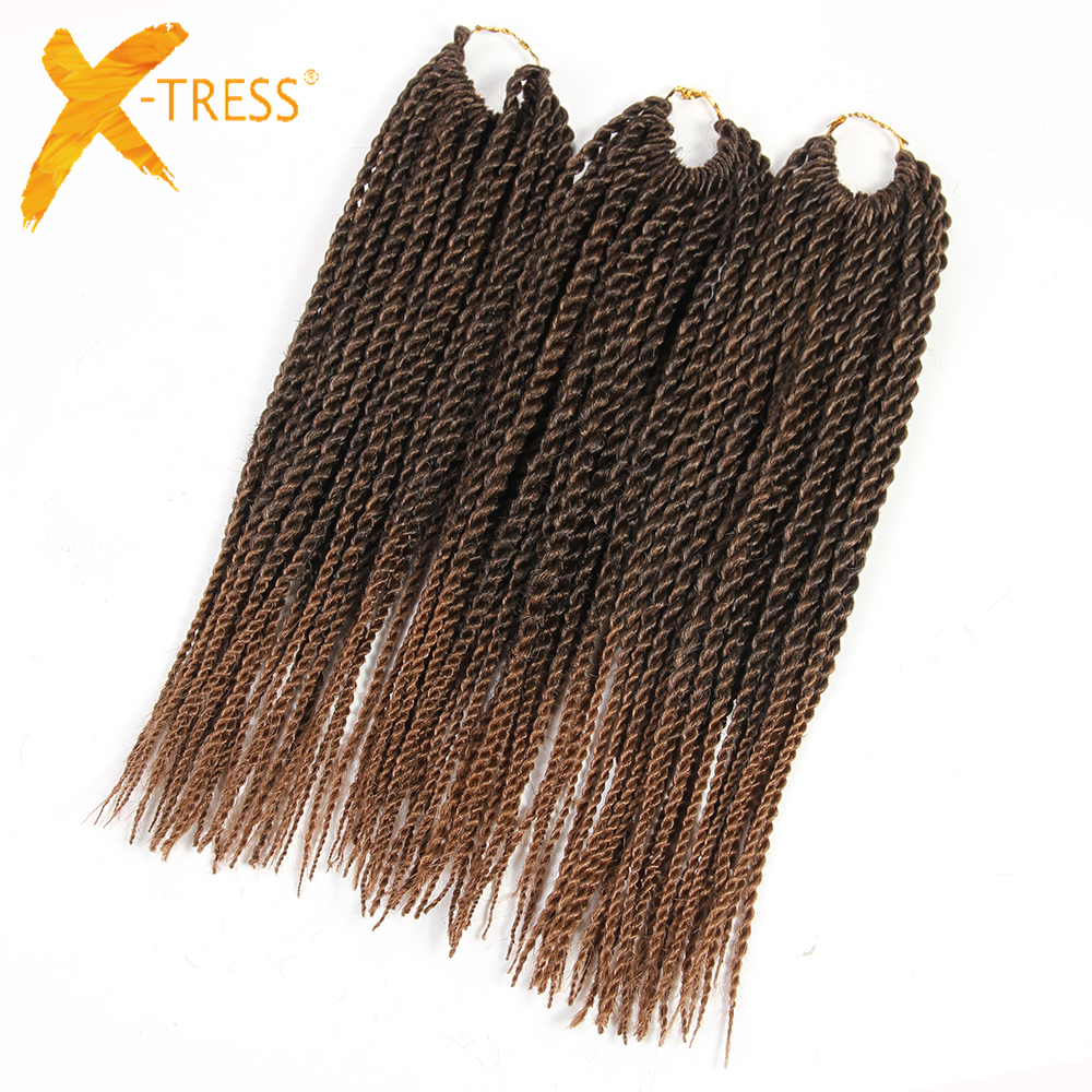 "X-TRESS Synthetic Hair Senegalese Twist Braiding Hair Extensions 3Pcs/Pack 12"" 81 Strands Heat Resistant Ombre Crochet Braids"