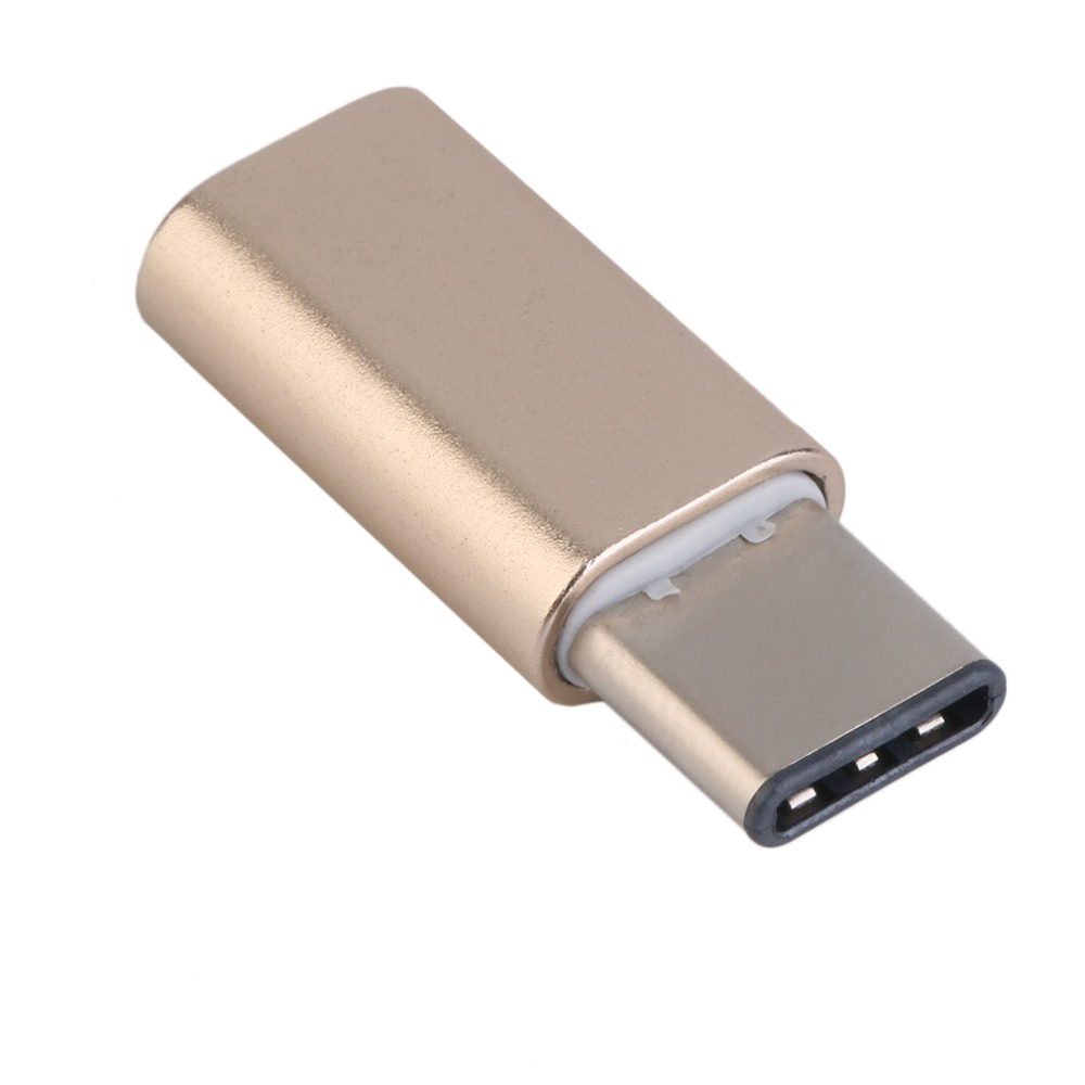 YHX Aluminium Type-C Male Connector to Micro USB Female Cable Converter Adapter for Tablet Mobile Phone White & Gold Wholesale