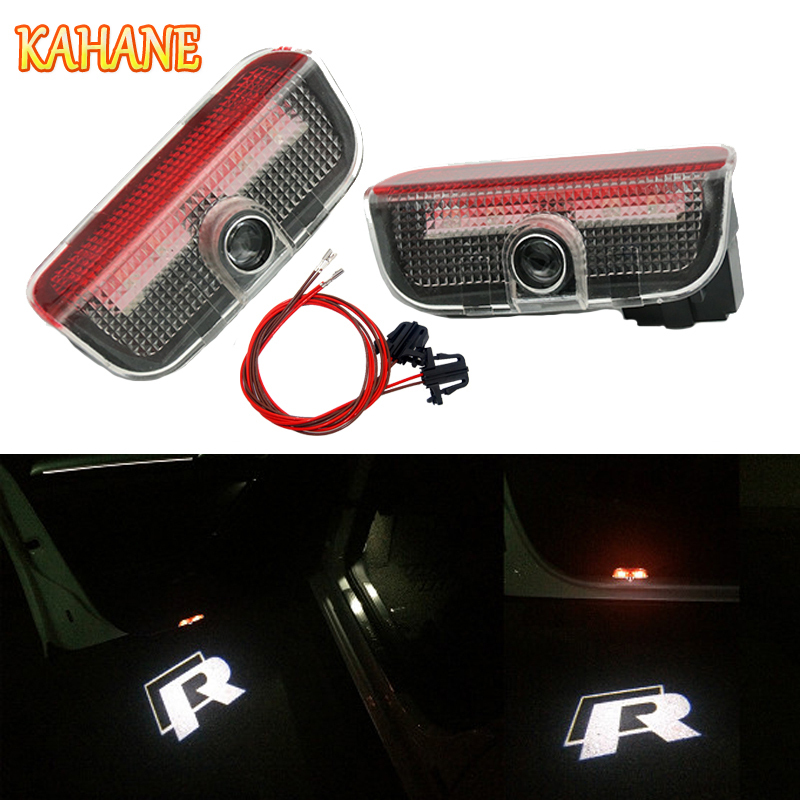 KAHANE 2x R Rline Logo LED Car Door Courtesy Laser Projector Light FOR VW Passat B5 B6 B7 Golf 5 6 7 GTI Touran Jetta MK5 MK6 CC 2x led car door welcome light logo projector for volkswagen vw golf 5 6 7 tiguan cc jetta mk5 mk6 passat b6 b7 touareg scirocco