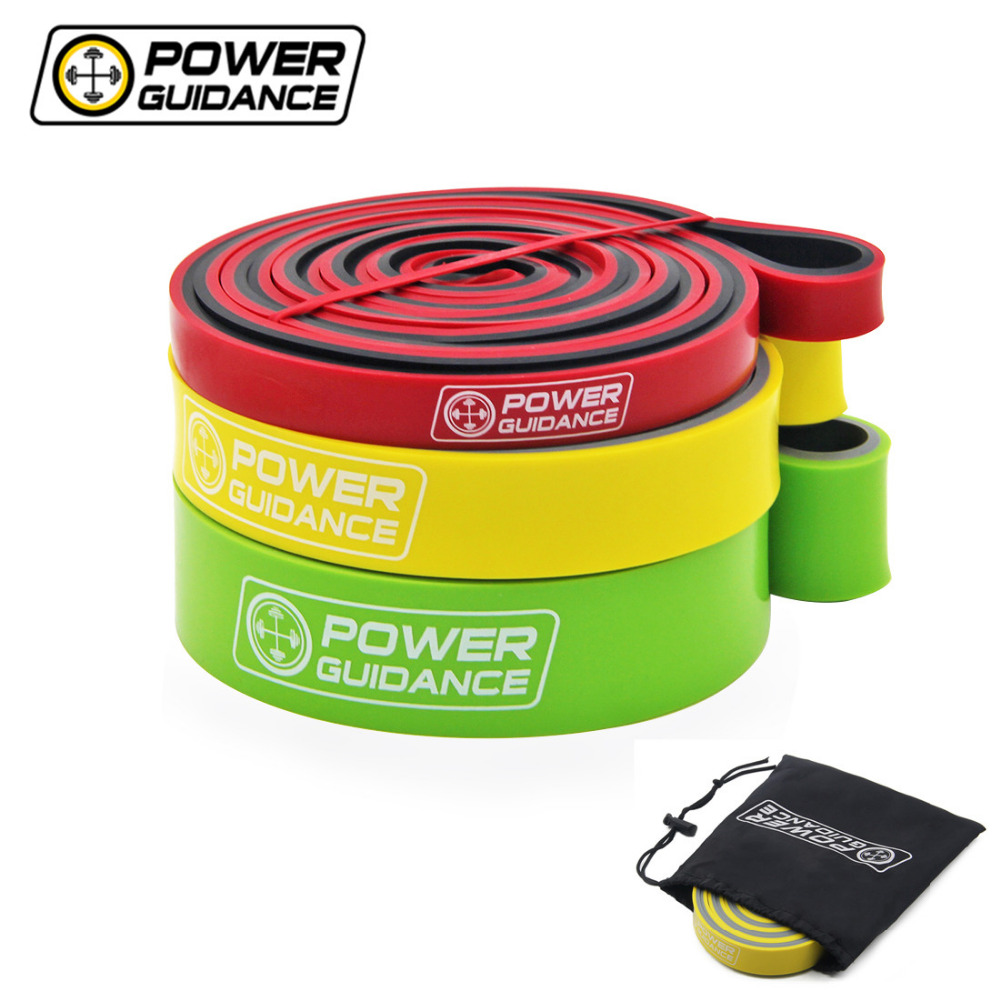 POWER GUIDANCE 3pcs/Set Dual Color Resistance Bands Pull Up Assisted Band Loop for Pull-ups Stretching Exercise with Free Bag 2016 set of 3 latex exercise resistance bands loop fitness power lifting pull up bands strengthen muscles bands
