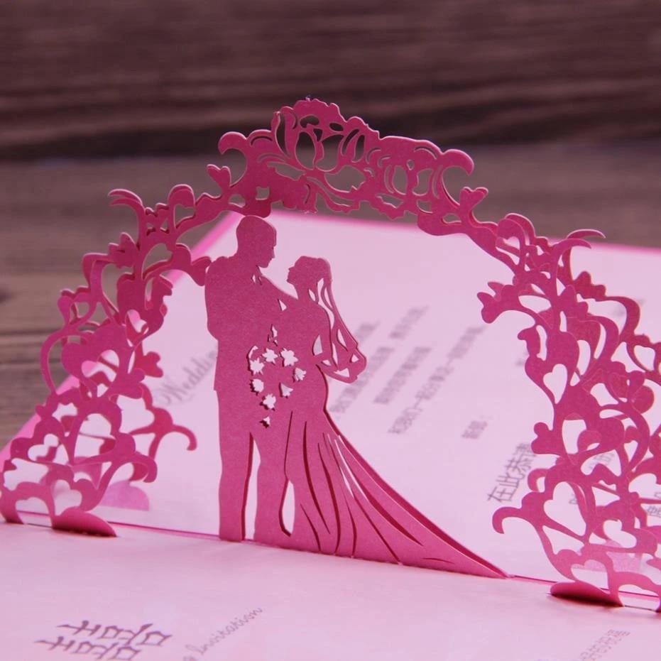 Fuchsia Invitation Wedding Card Laser Cut Art Paper 21D Pop Up Design  Elegant Wedding Souvenirs 21pcs Free Shipping Pertaining To Wedding Pop Up Card Template Free