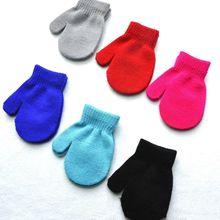 1 пара, Детские Зимние теплые перчатки ярких цветов, варежки для девочек и мальчиков, детские перчатки, аксессуары для детей
