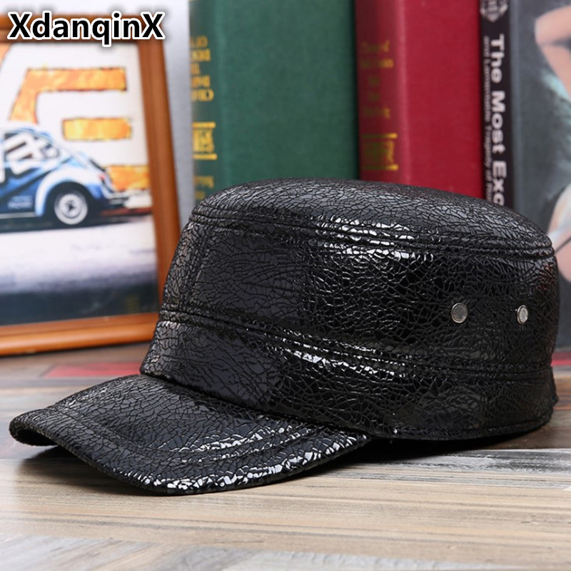 XdanqinX Genuine Leather Hat Winter Sheepskin Warm Military Hats With Ears Flat Caps For Men Women Adjustable Size Earmuffs Hat in Men 39 s Military Hats from Apparel Accessories