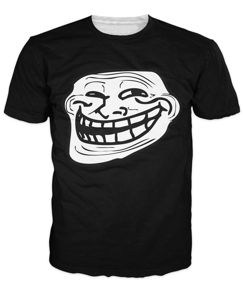 3d omg awesome troll face t shirt super cool meme tee. Black Bedroom Furniture Sets. Home Design Ideas