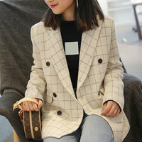 2018 Autumn Women Plaid Blazer Notched Double Breasted Casual Jacket Fashion Women Suit Coat Femme Winter Outwear high quality