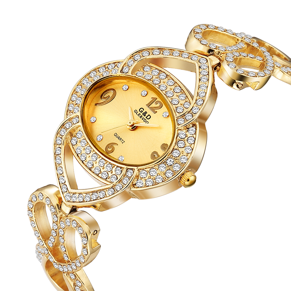 G&D Luxury Womens Watches Diamond Gold Ladies Bracelet Watch Stainless Steel Quartz Wristwatch Clock reloj mujer Gift for WomenG&D Luxury Womens Watches Diamond Gold Ladies Bracelet Watch Stainless Steel Quartz Wristwatch Clock reloj mujer Gift for Women