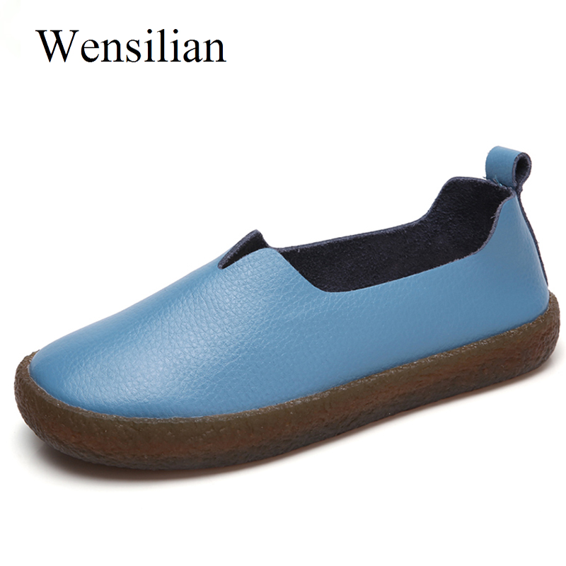 Soft Ballet Flat Shoes Women Genuine Leather Shoes Round Toe Anti Slip Flats Shallow Slip On Loafers Zapatos Mujer women shoes 2018 new footwear slip on ballet hollow genuine breathable soft flat shoes women comfortable loafers shoes ladies