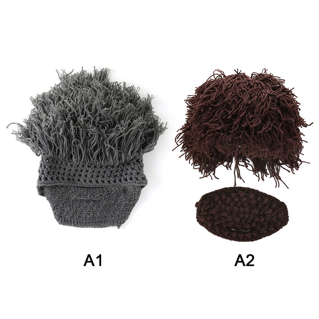 7e44af14516 Winter Halloween Kids Adult Funny Wig Beard Knitted Hats Costumes For Kids  Head Warm Caps Knitted Funny Toy plush Toys