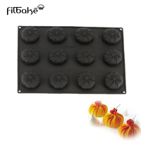 12 Cavity Silicone Black Cake Molds Cyclone Shaped Baking Mousse Western Dessert Decorating Sweets Mold