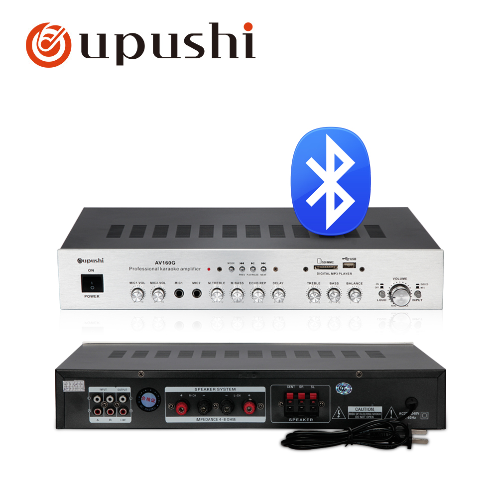 Oupushi AV160G Fixed Resistance Stereo Bluetooth Amplifier For Movie Theater And KTV Background Music Playback