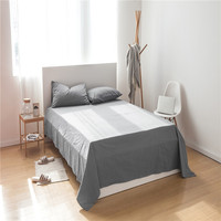 LISM Solid color Washed 100% cotton sheets pillowcases bedding set bed sheet 3Pcs