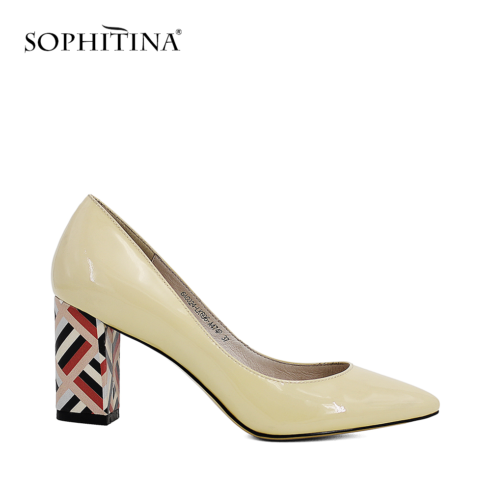 SOPHITINA Brand Patent Leather Lady Pumps Colorful Soft Heel Pointed Toe Shoe Beige Black Classics Office