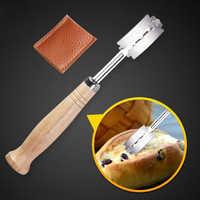 Cuisson courbe cuisson pain coupe pâte manche en bois patisserie coupe Toas français Lame outils de cuisine avec couvercle Lame mince