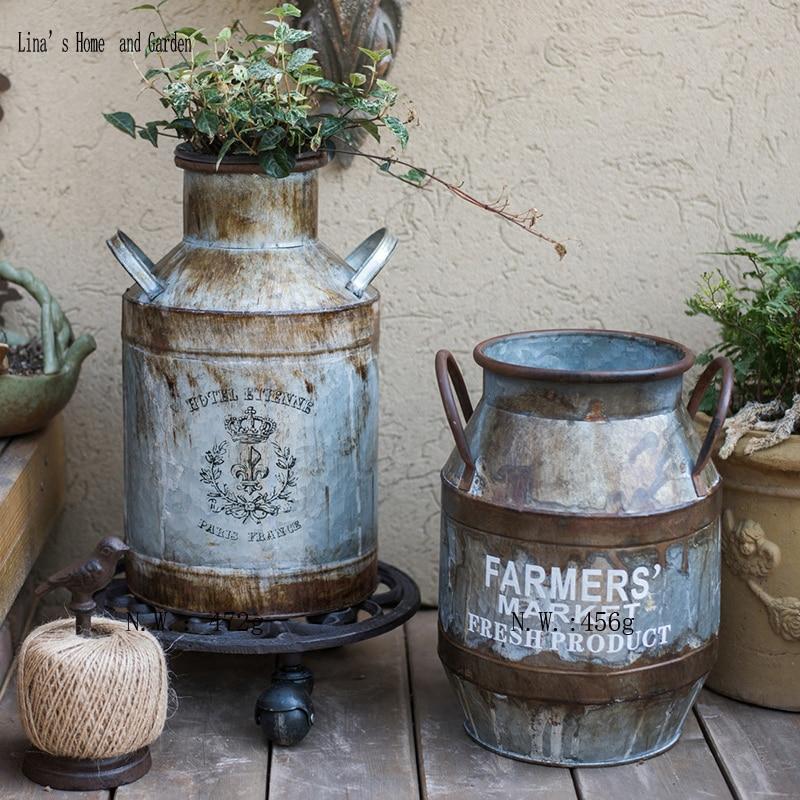 handcraft vintage antique gray mini metal flower jug jarra vintage con flores