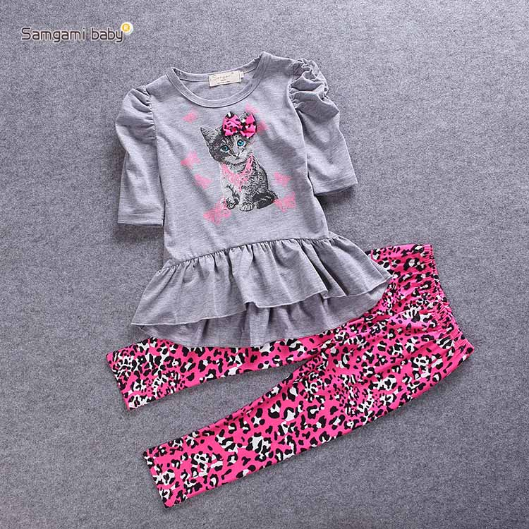 new cat girls clothing sets baby kids clothes children clothing shor sleeve T shirl leopard legging 2pcs