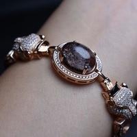 Fine Jewelry leopard shape Real 925 sterling silver S925 solid silver natural Crystal female bracelets for women fine bracelet