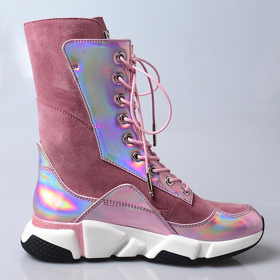 Botas In Plana Rosa 2019 In Perfetto Leather Espejo Prova Zapatillas Zapatos Las Pink Mujeres Tobillo Mosaico Cuero Deporte pink Plataforma Ante Casuales De Plush zwx5PtRq5