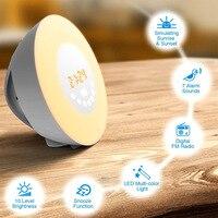 Gosear Wake up Light Sunrise Sunset Simulation Alarm Clock Touch Sensor Color changing RGB LED Lamp with FM Radio