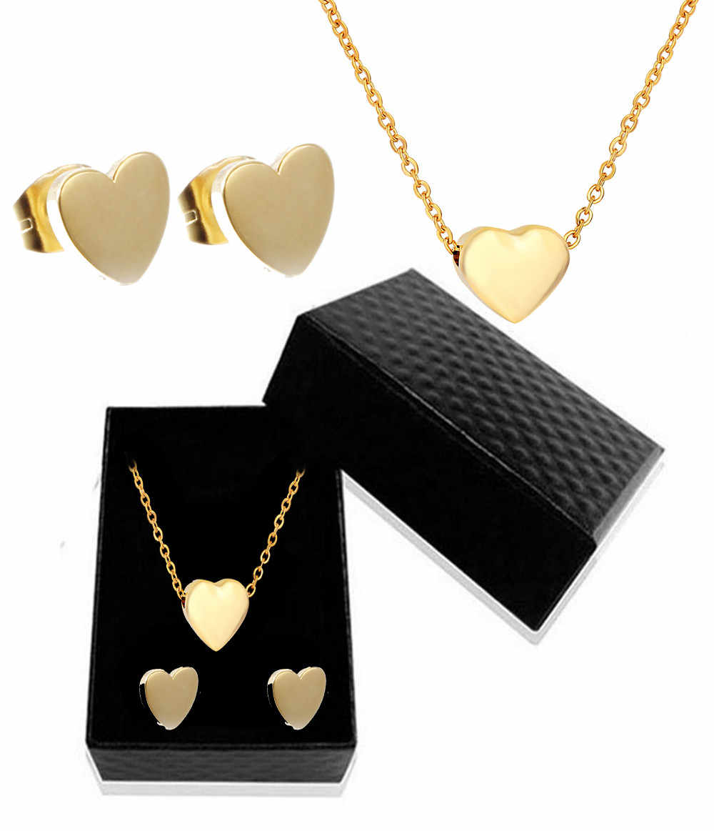 Silver God Stainless Steel Heart Pendant Necklace Earring Set 316L Stainless Steel Bridal Wedding Jewelry Sets Gift Box