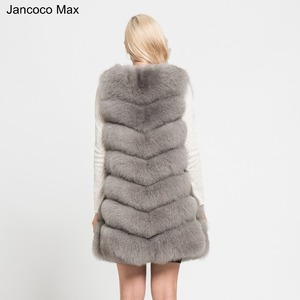 Image 2 - Jancoco 最大 2019 新リアルキツネの毛皮のベスト高品質女性のチョッキの冬のコート 7 行厚く暖かいジレ s7161