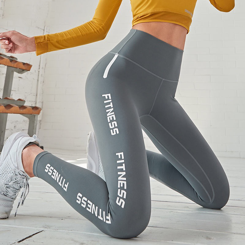 2019 Yoga Pants Sport Leggings Women Fitness Gym Tights Slim Pants Letter Printing Elastic High Waist